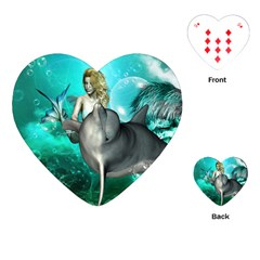 Beautiful Mermaid With  Dolphin With Bubbles And Water Splash Playing Cards (heart)