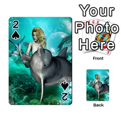 Beautiful Mermaid With  Dolphin With Bubbles And Water Splash Playing Cards 54 Designs