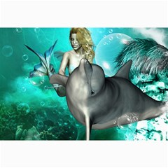 Beautiful Mermaid With  Dolphin With Bubbles And Water Splash Collage 12  X 18