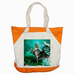 Beautiful Mermaid With  Dolphin With Bubbles And Water Splash Accent Tote Bag