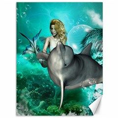 Beautiful Mermaid With  Dolphin With Bubbles And Water Splash Canvas 36  x 48