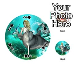 Beautiful Mermaid With  Dolphin With Bubbles And Water Splash Playing Cards 54 (Round)