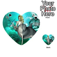 Beautiful Mermaid With  Dolphin With Bubbles And Water Splash Playing Cards 54 (Heart)