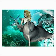 Beautiful Mermaid With  Dolphin With Bubbles And Water Splash Large Glasses Cloth