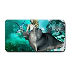 Beautiful Mermaid With  Dolphin With Bubbles And Water Splash Medium Bar Mats