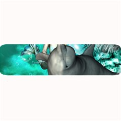 Beautiful Mermaid With  Dolphin With Bubbles And Water Splash Large Bar Mats