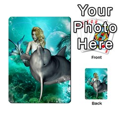Beautiful Mermaid With  Dolphin With Bubbles And Water Splash Multi Purpose Cards (rectangle)