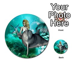 Beautiful Mermaid With  Dolphin With Bubbles And Water Splash Multi-purpose Cards (Round)