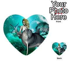 Beautiful Mermaid With  Dolphin With Bubbles And Water Splash Multi-purpose Cards (Heart)