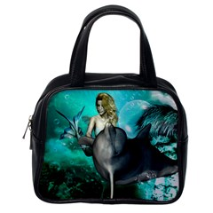 Beautiful Mermaid With  Dolphin With Bubbles And Water Splash Classic Handbags (One Side)