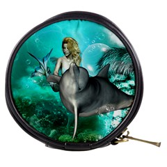 Beautiful Mermaid With  Dolphin With Bubbles And Water Splash Mini Makeup Bags