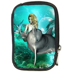 Beautiful Mermaid With  Dolphin With Bubbles And Water Splash Compact Camera Cases