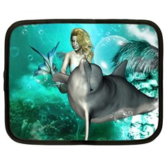 Beautiful Mermaid With  Dolphin With Bubbles And Water Splash Netbook Case (XL)