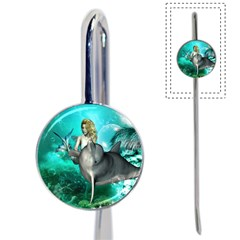 Beautiful Mermaid With  Dolphin With Bubbles And Water Splash Book Mark