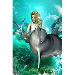 Beautiful Mermaid With  Dolphin With Bubbles And Water Splash 5 5  X 8 5  Notebooks
