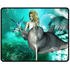 Beautiful Mermaid With  Dolphin With Bubbles And Water Splash Fleece Blanket (medium)