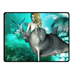 Beautiful Mermaid With  Dolphin With Bubbles And Water Splash Fleece Blanket (small)