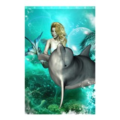Beautiful Mermaid With  Dolphin With Bubbles And Water Splash Shower Curtain 48  x 72  (Small)