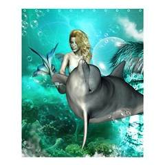Beautiful Mermaid With  Dolphin With Bubbles And Water Splash Shower Curtain 60  X 72  (medium)