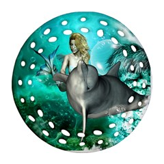 Beautiful Mermaid With  Dolphin With Bubbles And Water Splash Ornament (Round Filigree)