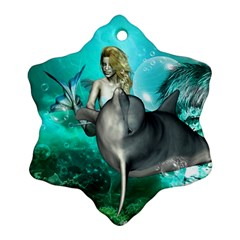 Beautiful Mermaid With  Dolphin With Bubbles And Water Splash Snowflake Ornament (2-Side)
