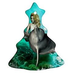 Beautiful Mermaid With  Dolphin With Bubbles And Water Splash Christmas Tree Ornament (2 Sides)