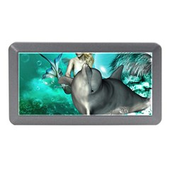Beautiful Mermaid With  Dolphin With Bubbles And Water Splash Memory Card Reader (Mini)