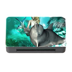 Beautiful Mermaid With  Dolphin With Bubbles And Water Splash Memory Card Reader with CF