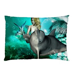 Beautiful Mermaid With  Dolphin With Bubbles And Water Splash Pillow Cases (Two Sides)