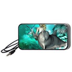 Beautiful Mermaid With  Dolphin With Bubbles And Water Splash Portable Speaker (black)
