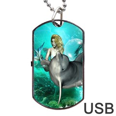 Beautiful Mermaid With  Dolphin With Bubbles And Water Splash Dog Tag USB Flash (Two Sides)