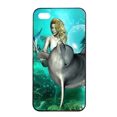 Beautiful Mermaid With  Dolphin With Bubbles And Water Splash Apple iPhone 4/4s Seamless Case (Black)