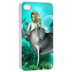 Beautiful Mermaid With  Dolphin With Bubbles And Water Splash Apple Iphone 4/4s Seamless Case (white)