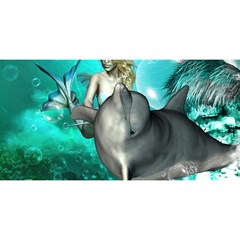 Beautiful Mermaid With  Dolphin With Bubbles And Water Splash You Are Invited 3d Greeting Card (8x4)