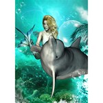 Beautiful Mermaid With  Dolphin With Bubbles And Water Splash Get Well 3D Greeting Card (7x5)  Inside