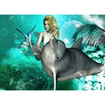 Beautiful Mermaid With  Dolphin With Bubbles And Water Splash Get Well 3D Greeting Card (7x5)  Back