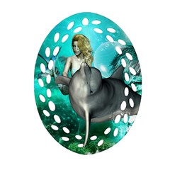Beautiful Mermaid With  Dolphin With Bubbles And Water Splash Oval Filigree Ornament (2-Side)