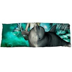 Beautiful Mermaid With  Dolphin With Bubbles And Water Splash Body Pillow Cases (Dakimakura)