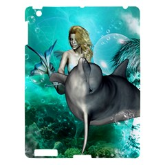 Beautiful Mermaid With  Dolphin With Bubbles And Water Splash Apple iPad 3/4 Hardshell Case