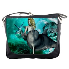 Beautiful Mermaid With  Dolphin With Bubbles And Water Splash Messenger Bags
