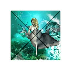 Beautiful Mermaid With  Dolphin With Bubbles And Water Splash Acrylic Tangram Puzzle (4  x 4 )