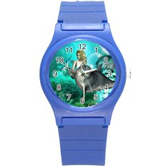 Beautiful Mermaid With  Dolphin With Bubbles And Water Splash Round Plastic Sport Watch (S)