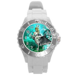 Beautiful Mermaid With  Dolphin With Bubbles And Water Splash Round Plastic Sport Watch (L)