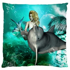 Beautiful Mermaid With  Dolphin With Bubbles And Water Splash Large Cushion Cases (Two Sides)