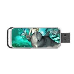 Beautiful Mermaid With  Dolphin With Bubbles And Water Splash Portable Usb Flash (two Sides)