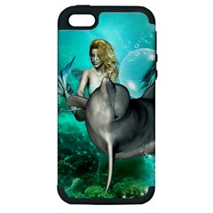 Beautiful Mermaid With  Dolphin With Bubbles And Water Splash Apple iPhone 5 Hardshell Case (PC+Silicone)