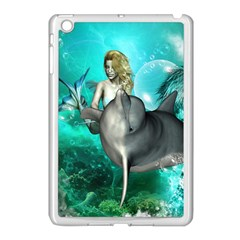 Beautiful Mermaid With  Dolphin With Bubbles And Water Splash Apple iPad Mini Case (White)