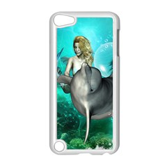 Beautiful Mermaid With  Dolphin With Bubbles And Water Splash Apple iPod Touch 5 Case (White)