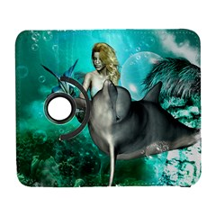 Beautiful Mermaid With  Dolphin With Bubbles And Water Splash Samsung Galaxy S  III Flip 360 Case