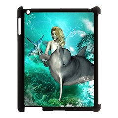 Beautiful Mermaid With  Dolphin With Bubbles And Water Splash Apple iPad 3/4 Case (Black)